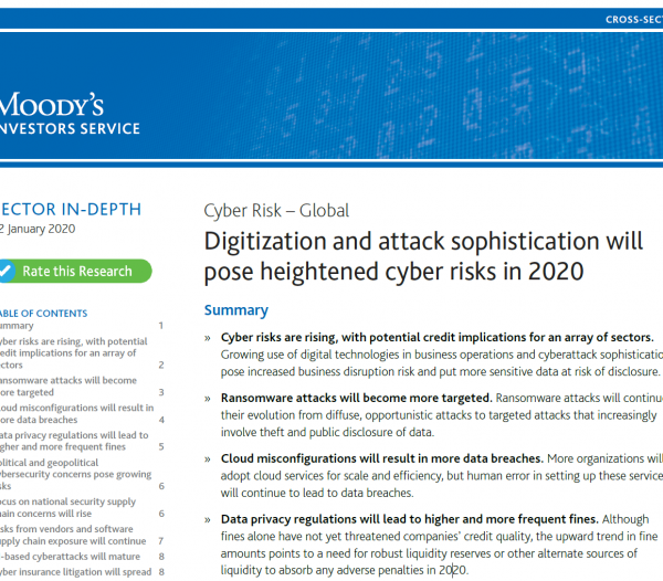 Moody's: Cyber Risks for All Business Sectors and Governments Will Rise in 2020