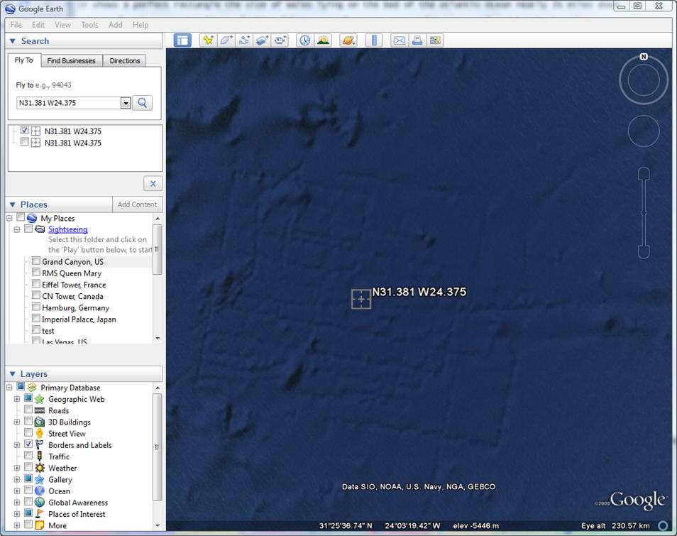 how to show in google earth coordinates how